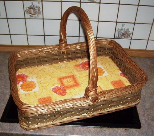 Extra großes Tablett mit Henkel Deko: orange
