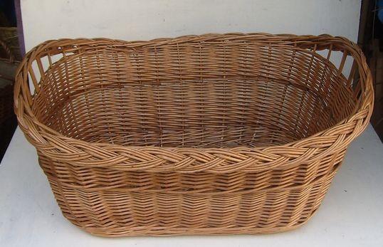 Wäschekorb oval mit Zopf und brauner Weide klein