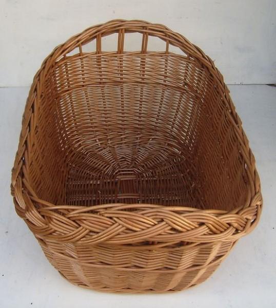 Wäschekorb oval mit Zopf und brauner Weide groß