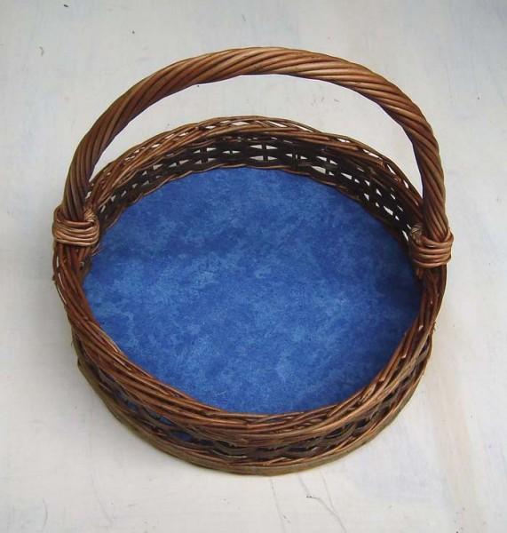 Mini - Tablett mit Henkel. Rund mit abwischbaren Boden. Deko blau