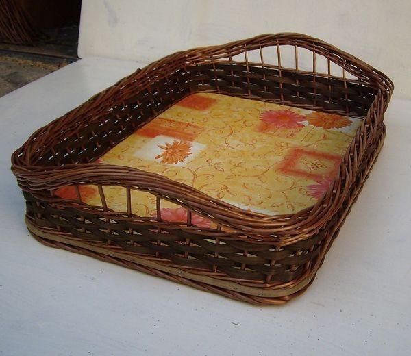 Tablett mit Griffe, normale Größe, Dekor: orange
